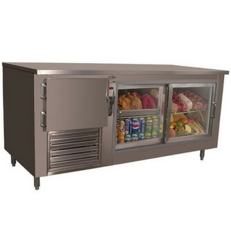 2 undercounter refrigerator with glass door