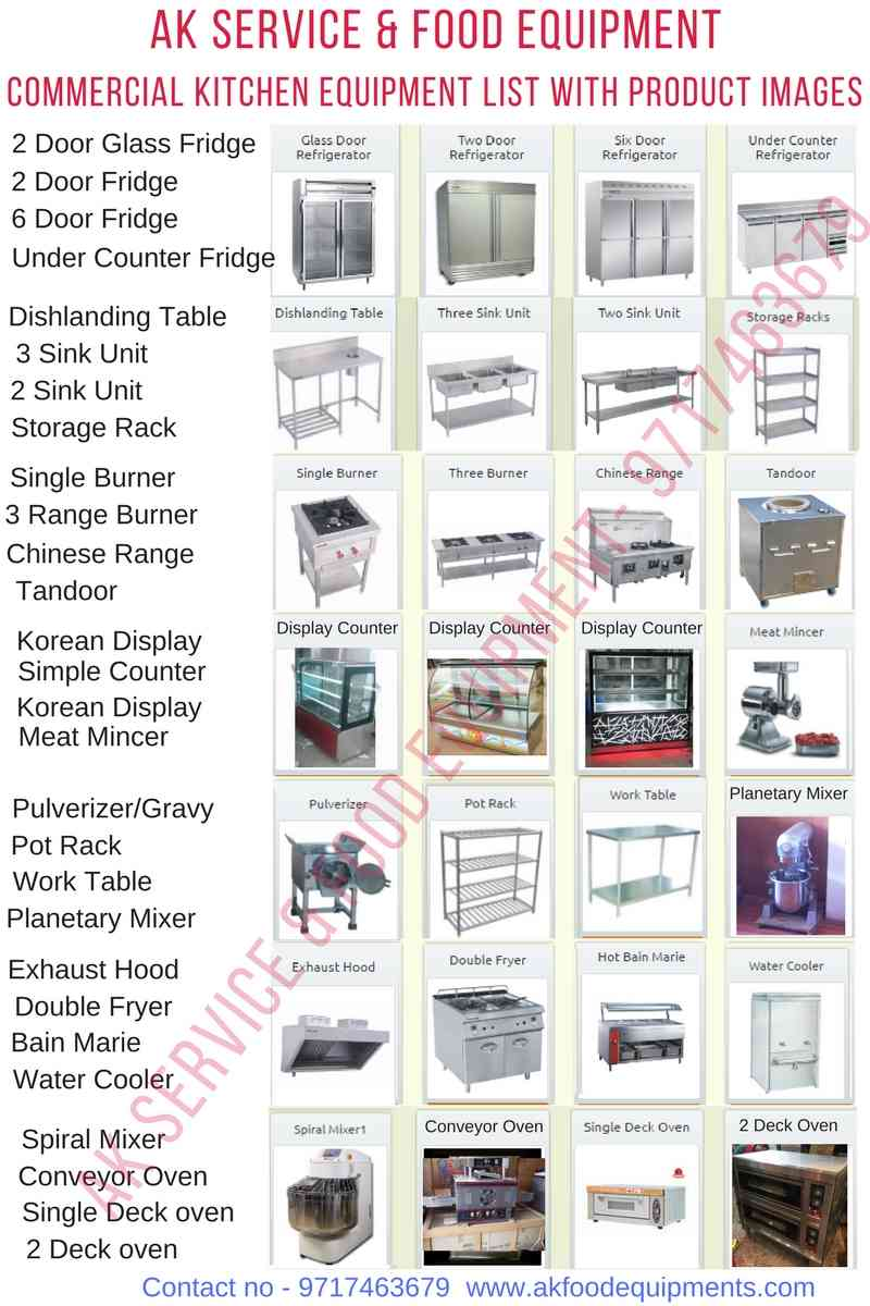 commercial kitchen equipment list and Restaurant kitchen equipment list